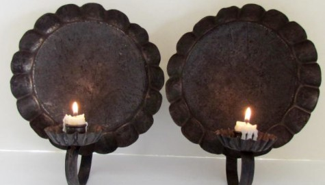 Pair of 19th. century Tin Wall Sconces