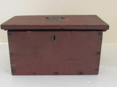 19th. century Red Painted Document Box