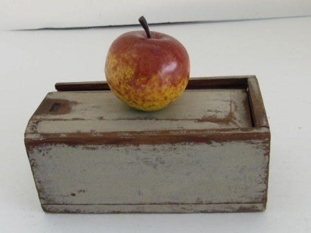 19th. Century, White Painted, Slide Lid Candle Box–Great Small Size