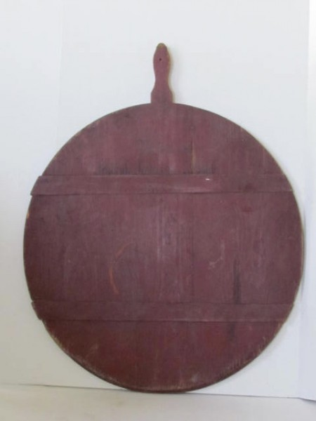 Excellent 19th. Century Pie Board in Original Red Paint, dated 1883