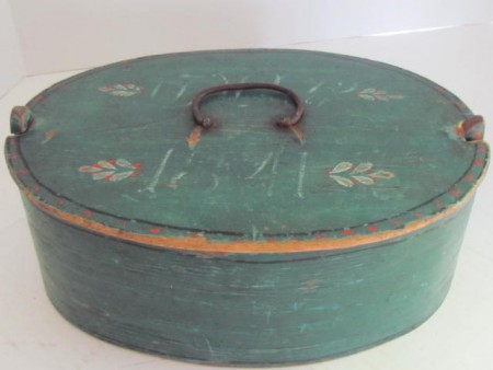 Early 19th. century, Oval dated Brides Box in Blue/Green Paint