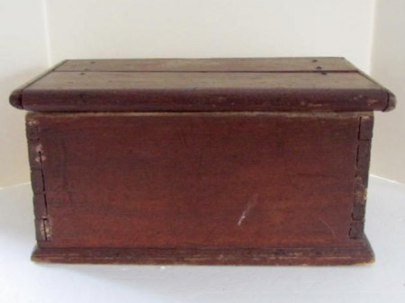 Fabulous Red Painted, 18th. c. Bible Box