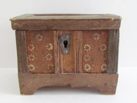 Fabulous Miniature, 18th. century Paint Decorated Blanket Box–Dated 1796