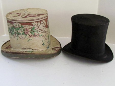 19th. century Wallpaper Hat Box with original Hat, Lebanon, Pa.