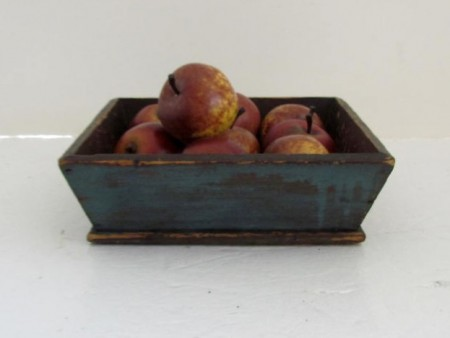 Very Small 19th. c. Apple Box, Apple Tray-Best Blue Paint