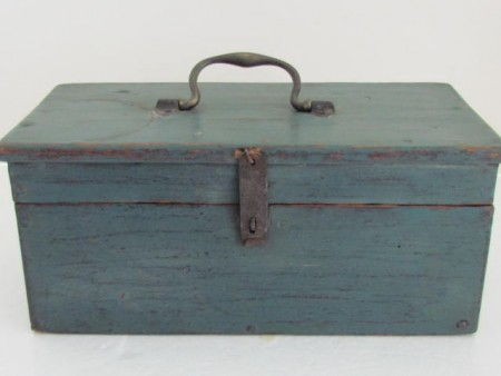 19th. century Blue Painted Document/Trades Box