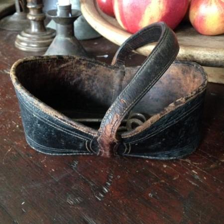 Scarce 19th c Southern Folk Art Signed Tooled Leather Key Basket, Virginia