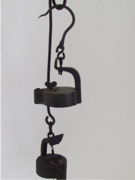 19th. century Miner's Betty Lamps with Hearts and original Hanger