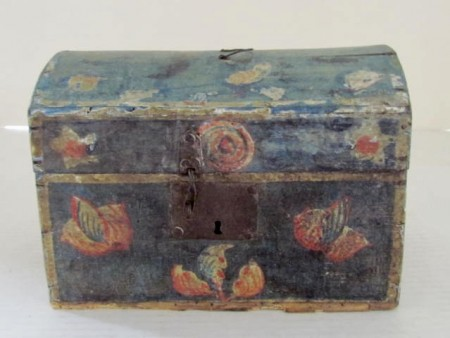 Small domed Table Box, All Original Painted Decoration