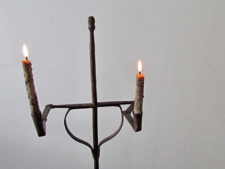 Late 18th Century Double Candlestand with RETRACTABLE ARMS