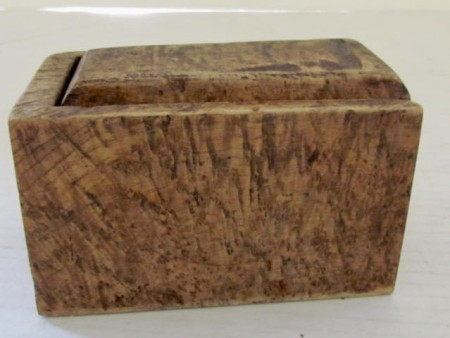 18th. century Ash Burl Slide Lid Box, Initialed and dated 1774