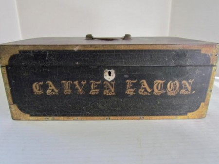 19TH C. PAINTED DOCUMENT BOX, Calven Eaton