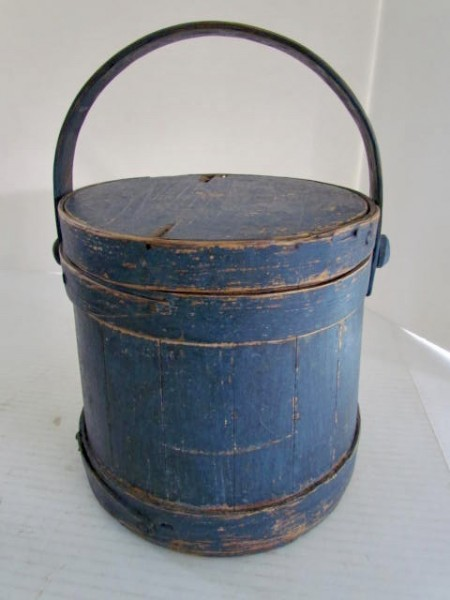 Charming, Small, 19th. c.  Blue Painted Firkin
