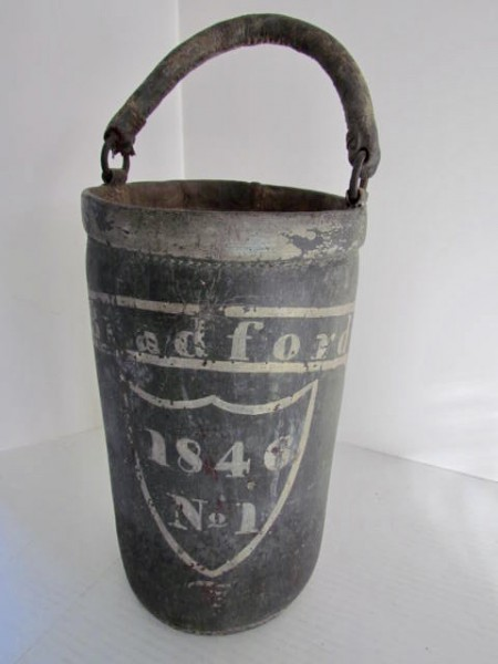 C.1846 RHODE ISLAND PAINTED FIRE BUCKET–John Bradford of Rhode Island