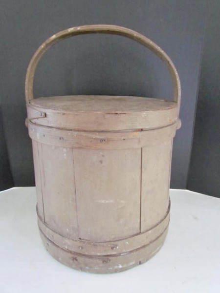 Bottom of the Stack, 19th. century Painted Firkin