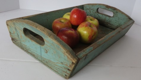 19TH CENTURY PRIMITIVE APPLE TRAY WITH ROBIN'S EGG BLUE PAINT