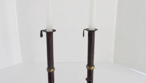 19th. Century Tall, Hogscraper, Wedding Band Candlesticks