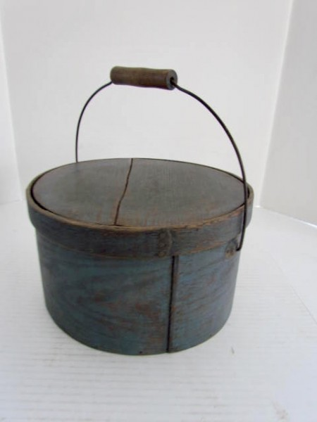 19th. Century Blue Painted Bail Handle Pantry box