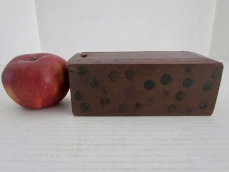 19th. century Red/Black Dot Decorated Slide Lid Box