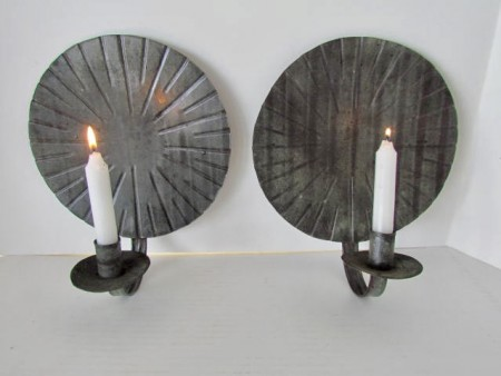 Early 19th. century Pair of Sconces, Sunburst Pattern