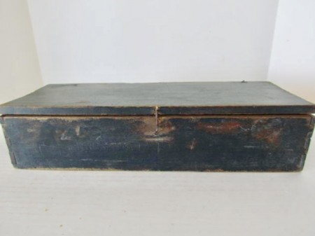 Blue Painted, 18th. century Candle Box