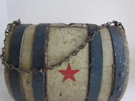 19TH C. CIVIL WAR ERA PATRIOTIC KEG/CANTEEN, Painted Red, White, Blu