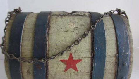 19TH C. CIVIL WAR ERA PATRIOTIC KEG/CANTEEN, Painted Red, White, Blu