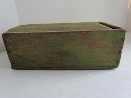 Early 19th. century Apple Green Painted Candle Box