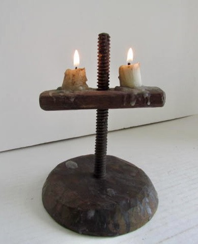 Early 18th. century Double Light Candle Stand/Treen