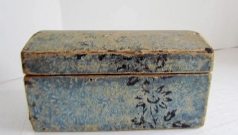 Small, Domed Blue/White Wall Papered Box