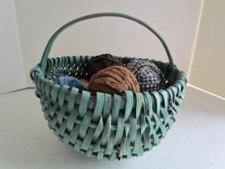 Smaller Sized Gathering Basket, Green Paint