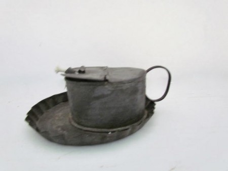 19th. century Tin Betty Lamp with Unusual Fluted attached Drip Tray