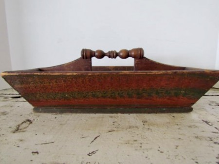 19th. century, Red/Green Painted Table Box