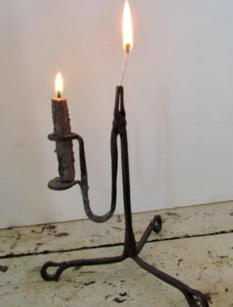 Late 18th./Early 19th. century Wrought Iron Table Light/Rush Light