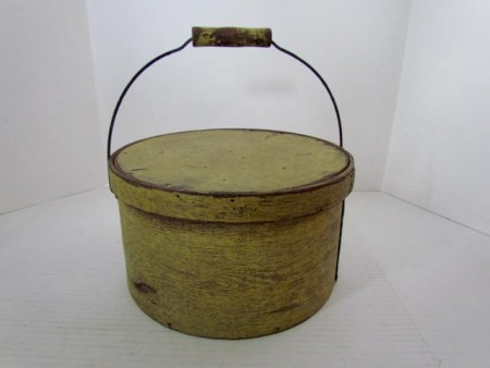 19th. century Bale Handled Pantry in the Best Yellow Paint