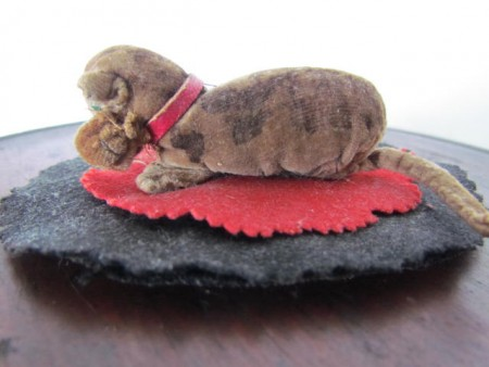 Most Adorable 19th. century Pen Wipe Cat/Mouse