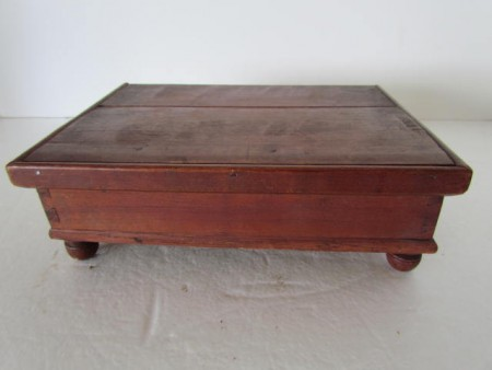 C. 1840 MINIATURE 4 COMPARTMENT CHERRY WOOD SPICE BOX