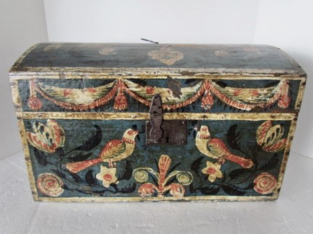 Large 19th. century Dome Top Painted Box, Birds and Flowers