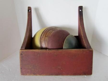 Unusual, Bowl Wall Box, Original Red Paint