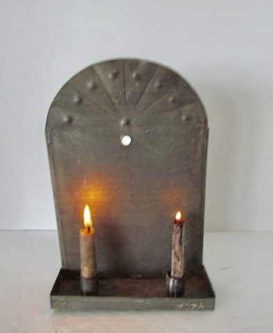 19th.  Century Tin, Decorated Double Wall Sconce