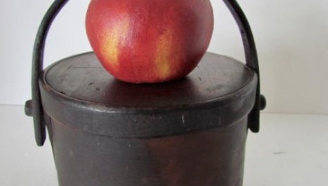 Early 19th. century Small Bail Handled Pantry, Best Red Painted Surface
