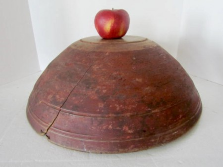 Fabulous Early 19th. century Large Dough Bowl in the Best Red Paint