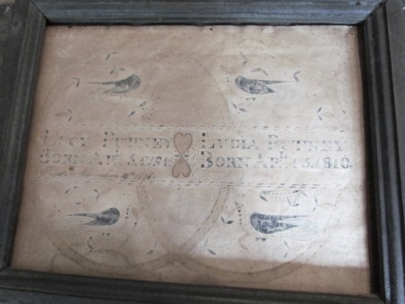 18th. century Fraktur, Birth Record–Lucy and Lydia Putney