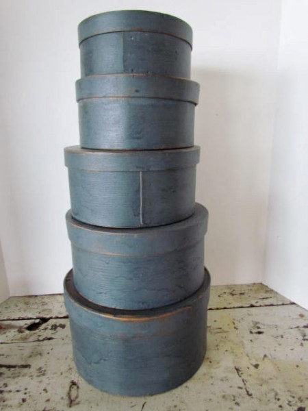 19th. century Stack of Five Blue Pantry Boxes