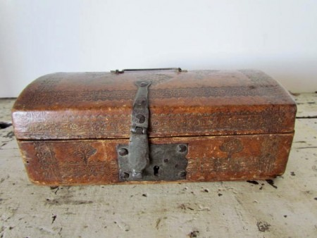 Mid 18th. c. Leather Covered Document Box