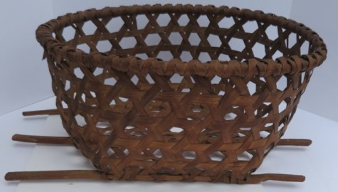 19th CENTURY SHAKER CHEESE BASKET WITH SKATES–Museum Quality-20+ inches in diameter