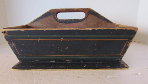 Wonderful 19th. century Painted Cutlery Box/Table Box