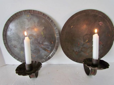 Fabulous Pair of Late 18th/19th. century Pa. Painted Wall Sconces