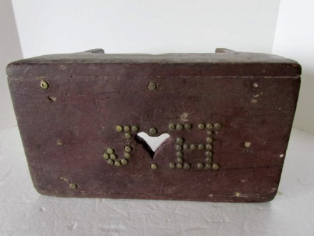 Early to Mid 19th. century Decorated Foot Stool, initialed J. H.