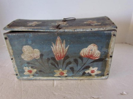 Early 19th. century Pa. German Folk Art Painted Dome Box